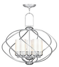 Brushed Nickel Livex 5 Light Westfield Chandelier Lighting Fixture Sale 4725-91