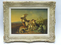 MAGNIFICENT BENNO RAFAEL ADAM (1812-1892) FARM GOAT OIL ON BOARD PAINTING