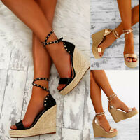Womens Sandals Wedge Platform Open Toe High Heels Rivet Summer Casual Boho Shoes