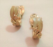 INTERESTING PAIR OF VINTAGE CLIP-ON EARRINGS IN CREAM ENAMEL WITH TINY DIAMANTES