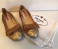 Prada 3F5652 New Ballerina Ballet Flats Gold Glitter Toe Bow Size 38.5