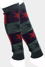 Navy Blue and Multi Colored Star Patterned Knitted Leg Warmers