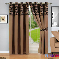 Damask Curtains Ring Top Fully Lined Pair Eyelet Ready Curtain Tiebacks Luxury