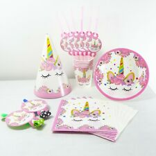 Pink Unicorn Tableware Birthday Party Decorations : Plates, Cups, Napkins, Straw