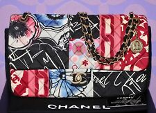 CHANEL Multicolor Mademoiselle PATCHWORK Silk Jersey Quilted Jumbo FLAP Bag WOW