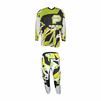 PULSE STORM GREEN & YELLOW MOTOCROSS MX ENDURO BMX MTB KIT + FREE SOCKS