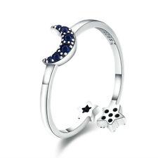 925 Plata de Ley Abierto Anillo Tamaño Ajustable - Mujeres Azul Luna Star
