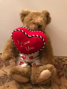 Vermont Teddy Bear with Heart Boxers Holding Heart
