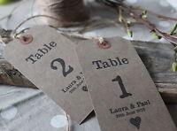 TABLE NUMBERS-Personalised-Kraft-Luggage Tags-Wedding-Vintage-Rustic-Shabby Chic