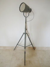 Tall Metal Searchlight Mirror Floor Standing Retro Urban Distressed Grey Finish