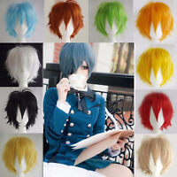Unisex Pixie Cosplay Anime Curly Short Wig Hair Full Wigs Cosplay Party Costume