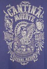Men $49 LUCKY BRAND Cantina De La Muerte Skeleton Playing Poker Liquor SHIRT~XXL