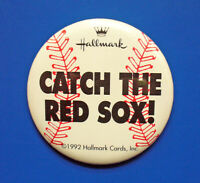 Hallmark BUTTON PIN Vintage RED SOX Baseball MLB 1992 CATCH THE Promotional RARE