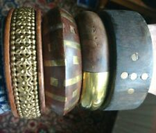 Genuine Vintage Indian Brass & Wood Chunky Ethnic Bracelets Bangles