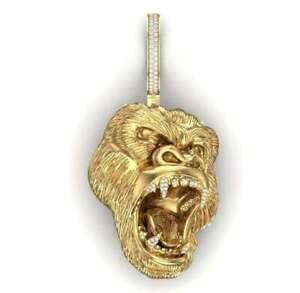 "10k Yellow Gold Over Diamonds 0.66 Ct Men's Gorilla Pendant 24"" Chain Necklace"