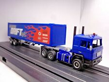 Custom Auto World Cabover Semi Truck blue. with Trailer. Ho Slot Car Aurora Afx