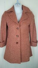 Cabi 2 Jacket Pea Coat Pink/Beige Tweed Wool Blend Button Front Heavy Lined #170