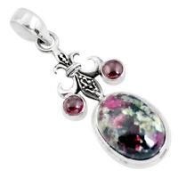 925 Sterling Silver 13.85cts Natural Pink Eudialyte Garnet Pendant P56854