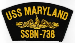 USS Maryland SSBN-738 embroidered patch US Navy Ballistic Missile Submarine