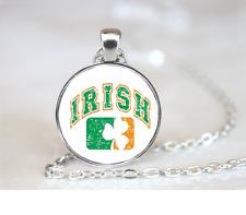 Irish~Shamrock PENDANT NECKLACE Chain Glass Tibet Silver Jewellery