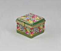 9987151 Porzellan Dose rechteckig mit Blumendekor Othengrafen 5x5x4cm