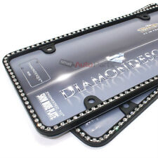2 Clear Diamond Bling Crystals Black License Plate Tag Frames for Auto-Car-Truck