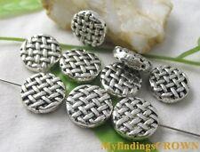 15pcs Tibetan Silver knot flat round spacer bead FC1730