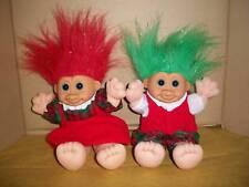 "Troll Russ Berrie 2 Matching Boy & Girl 12"" Christmas Collectible Dolls Soft"