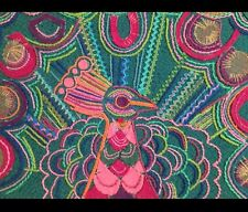 Mid-Century Vintage Retro Embroidery  Funky Peacock Picture 70s Kitsch Cool
