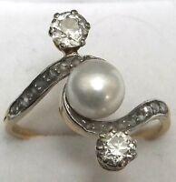 Antique 18 Carat Gold Diamond Platinum Victorian Solitaire Pearl Ring