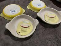 New Le Creuset Soleil Yellow Petite Au Gratin Stoneware Creme Brulee Dish SET 4