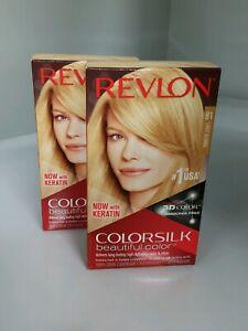 2-Pack Revlon Colorsilk #1 Light Blonde Permanent Dye 3D Gel with Keratin