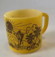 Vtg Florida Souvenir Federal Glass Yellow Swordfish & Trees Coffee Mug
