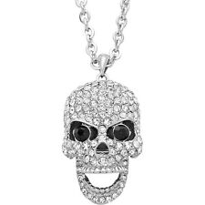 Skull Charm Pendant Necklace - Movable Jaw - Sparkling Crystal - 3 Colors