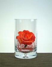 Clear  Glass Handmade Cylinder 20 cm x 11 Flower Vase Candle Holder Bubble Base
