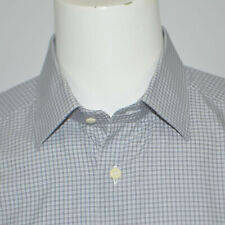 DAVID DONAHUE Classic Fit Gray Plaid Cotton Dress Shirt Sz 17 32/33