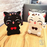 Cute 3D Cartoon Cat Silicone Rubber Cover Case for iPhone 6 6S 6Plus 7 7Plus