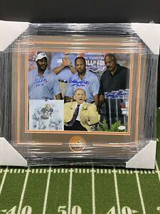 JIM BROWN BOBBY MITCHELL LEROY KELLY SIGNED CLEVELAND BROWNS FRAMED 11x14 JSA W