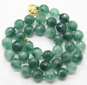 """Fashion 10mm Faceted Natural Green Jade Round Gemstone Beads Necklace 18"""""""