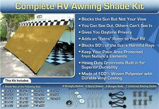 RV Awning Shade Motorhome Trailer Beige Awning Shade Complete Kit 10x20