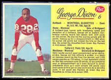1963 POST CFL FOOTBALL #6 GEORGE DIXON NM MONTREAL ALOUETTES UNIV OF BRIDGEPORT