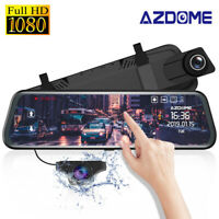 "AZDOME 10"" HD 1080P Dual Lens Car Dash Cam Recorder Mirror Touching Night Vision"