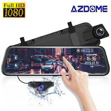 "AZDOME 10"" Mirror Dash Cam Car Streaming Media Touching Dual Lens Night Vision"