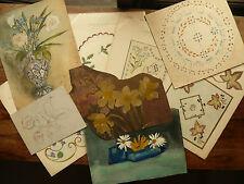Lot de 9 DESSINS Anciens Aquarelle Bouquet Fleurs Nature morte c.1910/1920