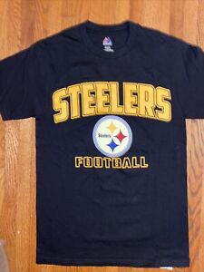 PITTSBURGH STEELERS T Shirt Adult SMALL MAJESTIC NEW NO TAG Black Cotton