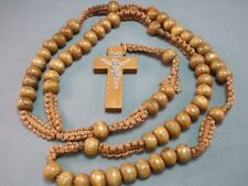 Rosary Necklace Wood Bead Macrame Accent Silver Imprint Crucifix MEDIUM BROWN