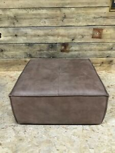 Alexander James footstool ottoman seat brown tan faux leather suede fabric