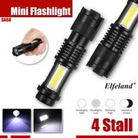 10000LM Elfeland COB+T6 LED Tactical Mini Pocket Flashlight Torch Light Lamp