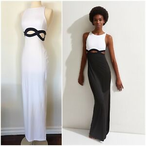OYE SWIMWEAR Black White Elvan Maxi Cutout Sleeveless Swimsuit Dress NWT M