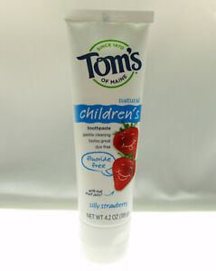 Tom's Fluoride Free Natural Childrens Toothpaste ~ Silly Strawberry ~ 4.2oz